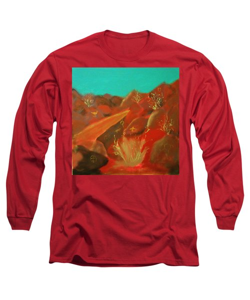 Long Sleeve T-Shirt featuring the painting Petroglyph Park by Keith Thue