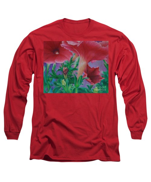 Long Sleeve T-Shirt featuring the painting Petunia Skies by Pamela Clements