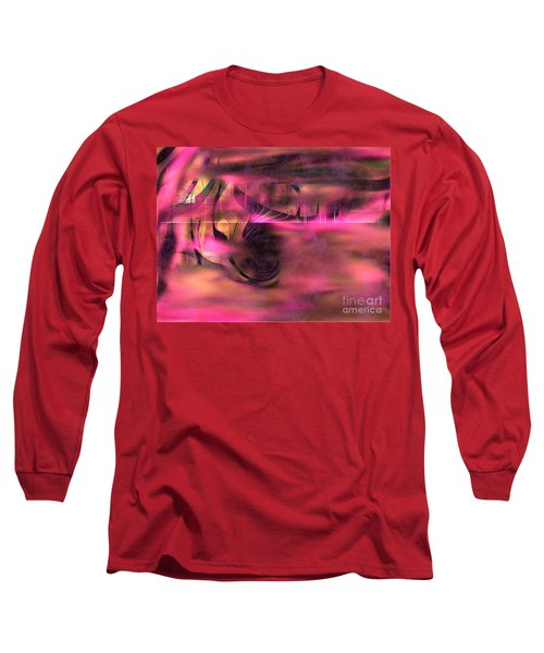 Long Sleeve T-Shirt featuring the painting Pink Abstract Nature by Yul Olaivar