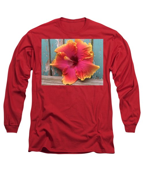 Tropical Pink And Yellow Hibiscus  Long Sleeve T-Shirt