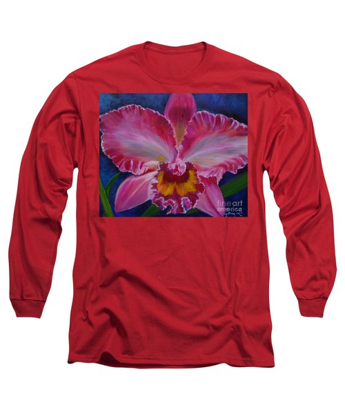 Long Sleeve T-Shirt featuring the painting Pink Orchid by Jenny Lee