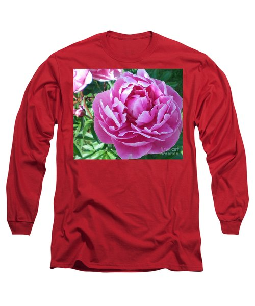 Pink Peony Long Sleeve T-Shirt by Barbara Griffin