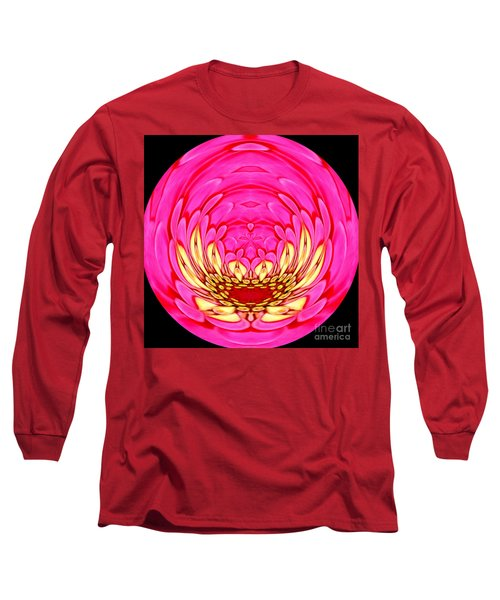 Long Sleeve T-Shirt featuring the photograph Pink Zinnia Polar Coordinate 2 by Rose Santuci-Sofranko