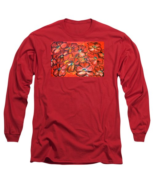 Long Sleeve T-Shirt featuring the painting Plaisir Rouge by Ramona Matei
