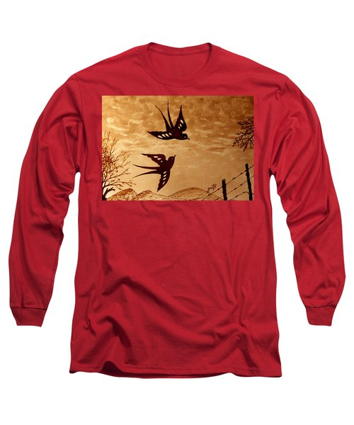 Long Sleeve T-Shirt featuring the painting Playful Swallows Original Coffee Painting by Georgeta  Blanaru