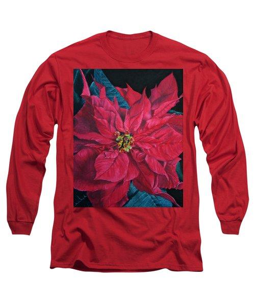Poinsettia II Painting Long Sleeve T-Shirt