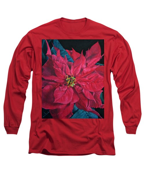 Poinsettia II Painting Long Sleeve T-Shirt