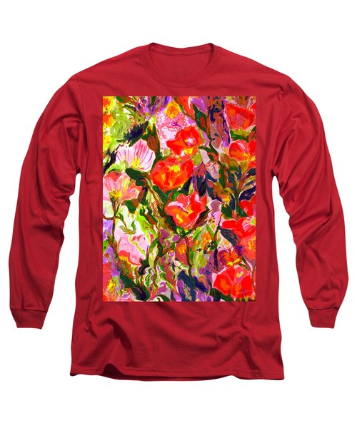 Long Sleeve T-Shirt featuring the mixed media Poppies by Beth Saffer