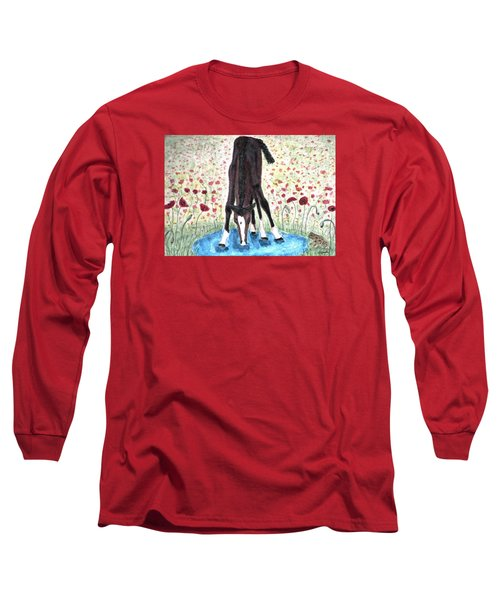 Long Sleeve T-Shirt featuring the painting Poppies N  Puddles by Angela Davies