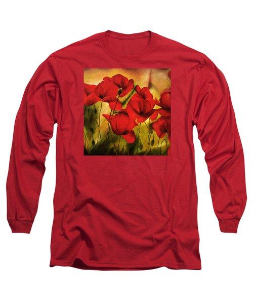 Poppy Flowers At Dusk Long Sleeve T-Shirt