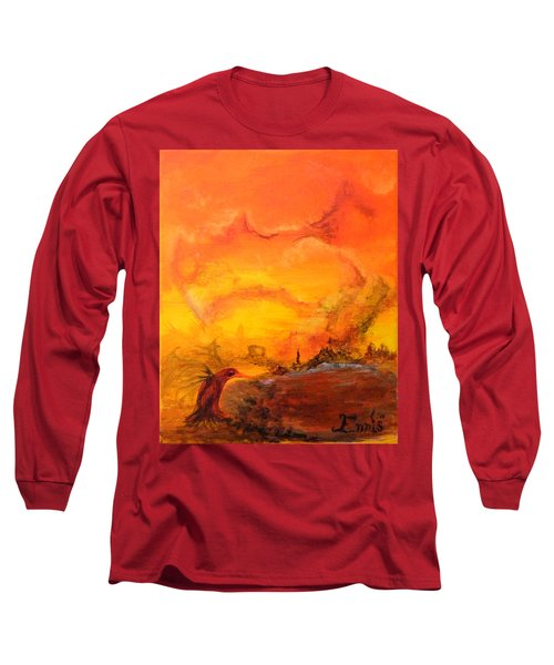 Long Sleeve T-Shirt featuring the painting Post Nuclear Watering Hole by Christophe Ennis