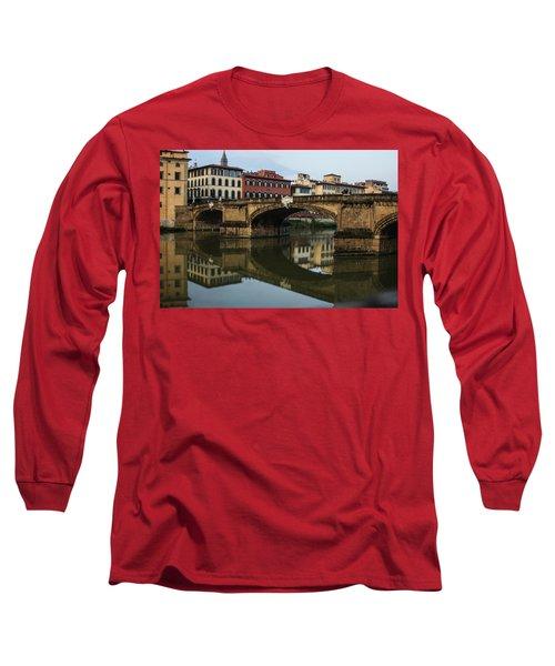 Postcard From Florence - Arno River And Ponte Santa Trinita  Long Sleeve T-Shirt