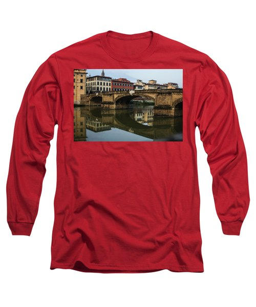 Postcard From Florence - Arno River And Ponte Santa Trinita  Long Sleeve T-Shirt