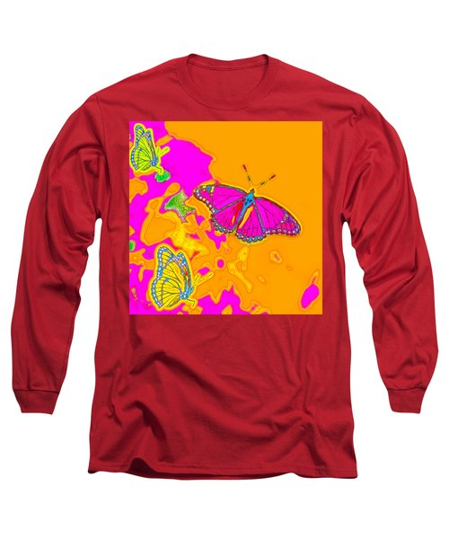 Long Sleeve T-Shirt featuring the digital art Psychedelic Butterflies by Marianne Campolongo
