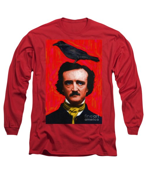 Quoth The Raven Nevermore - Edgar Allan Poe - Painterly - Red - Standard Size Long Sleeve T-Shirt