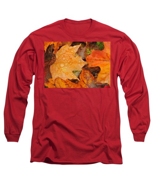 Raindrops On Fallen Maple Leaf Long Sleeve T-Shirt