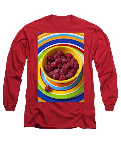 Raspberries In Yellow Bowl On Plate Long Sleeve T-Shirt
