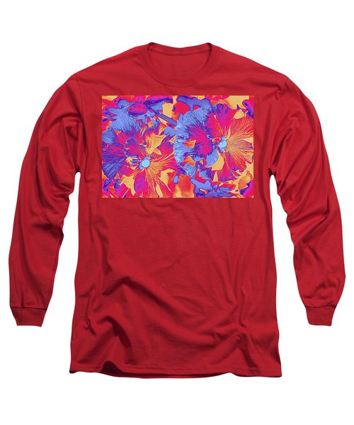 Red And Blue Pansies Pop Art Long Sleeve T-Shirt by Dora Sofia Caputo Photographic Art and Design