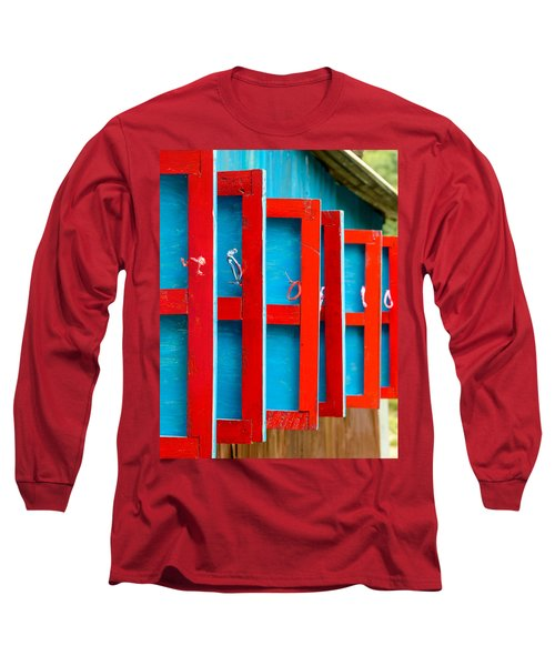 Red And Blue Wooden Shutters Long Sleeve T-Shirt