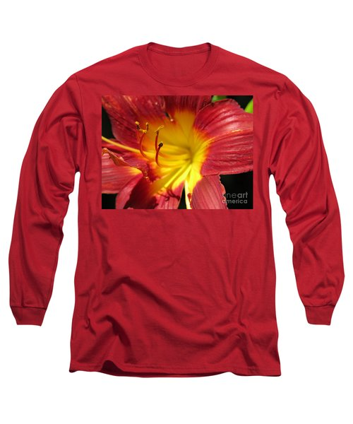 Red And Yellow Day Lily Long Sleeve T-Shirt