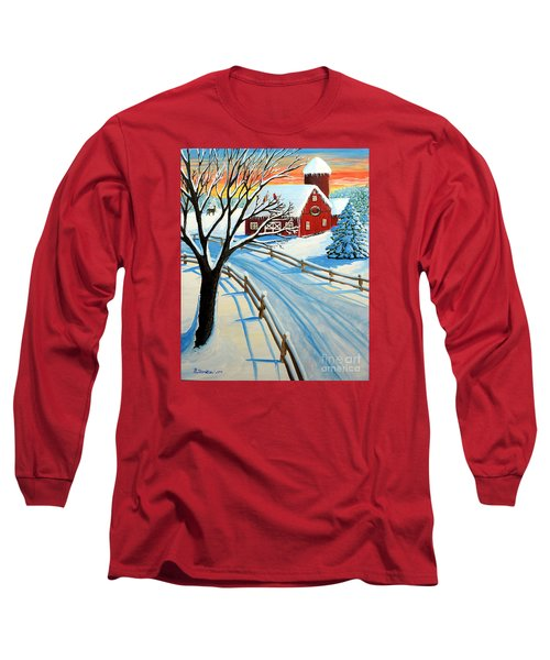 Red Barn In Winter Long Sleeve T-Shirt by Patricia L Davidson