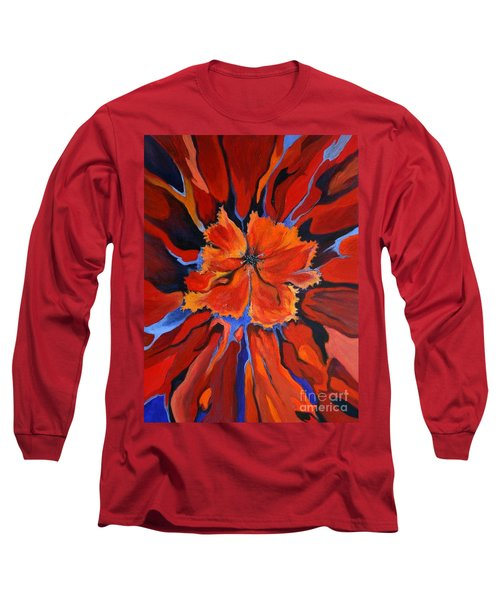 Long Sleeve T-Shirt featuring the painting Red Bloom by Alison Caltrider