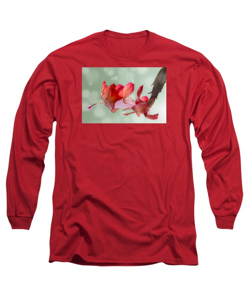Red Christmas Cactus Bloom Long Sleeve T-Shirt by Patti Deters