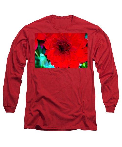 Red Dahlia Long Sleeve T-Shirt by Lehua Pekelo-Stearns
