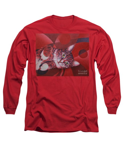 Long Sleeve T-Shirt featuring the painting Red Feline Geometry by Pamela Clements