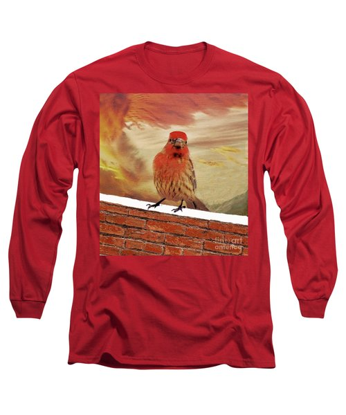 Red Finch On Red Brick Long Sleeve T-Shirt