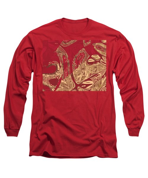 Red Geranium Abstract Long Sleeve T-Shirt