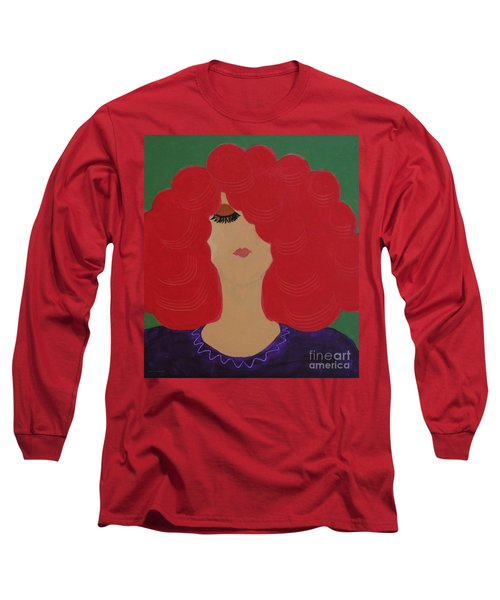 Long Sleeve T-Shirt featuring the painting Red Head by Anita Lewis