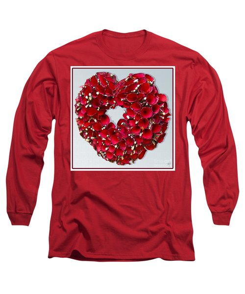 Long Sleeve T-Shirt featuring the photograph Red Heart Wreath by Victoria Harrington