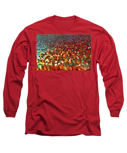 Red Hot Bokeh Bling Long Sleeve T-Shirt by Debbie Portwood