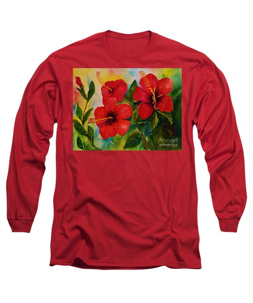 Red Hybiscus  Long Sleeve T-Shirt