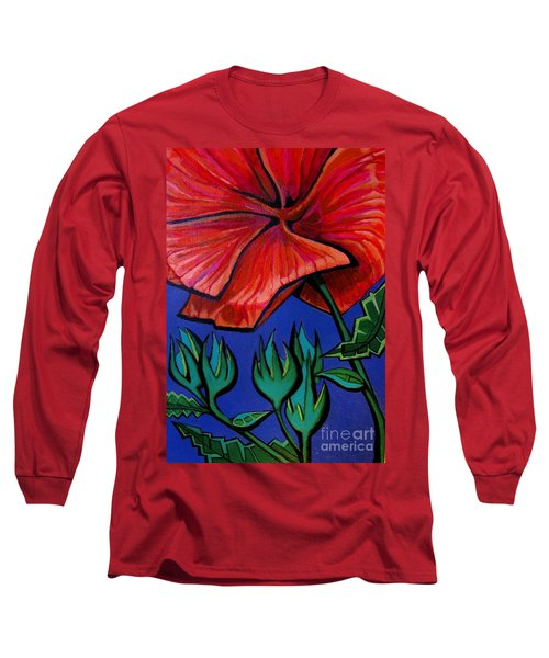 Red Ibiscus - Botanical Long Sleeve T-Shirt