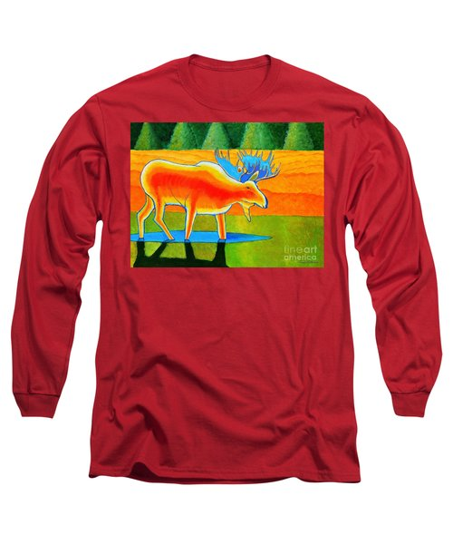 Long Sleeve T-Shirt featuring the painting Red Moose by Joseph J Stevens