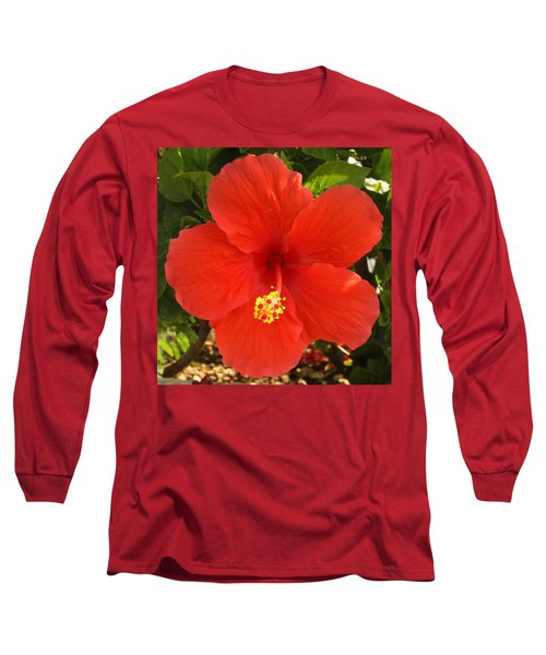 Red Pansy Long Sleeve T-Shirt by Mustafa Abdullah