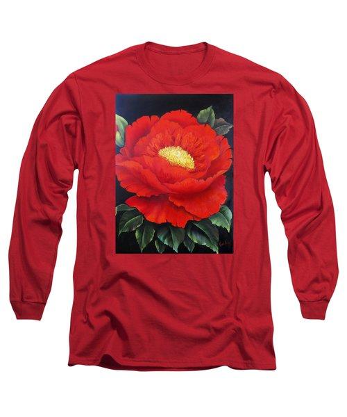 Red Peony Long Sleeve T-Shirt by Katia Aho