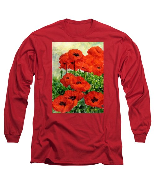 Red  Poppies In Shade Colorful Flowers Garden Art Long Sleeve T-Shirt by Elizabeth Sawyer
