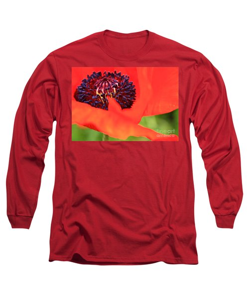 Red Poppy Long Sleeve T-Shirt by Linda Bianic