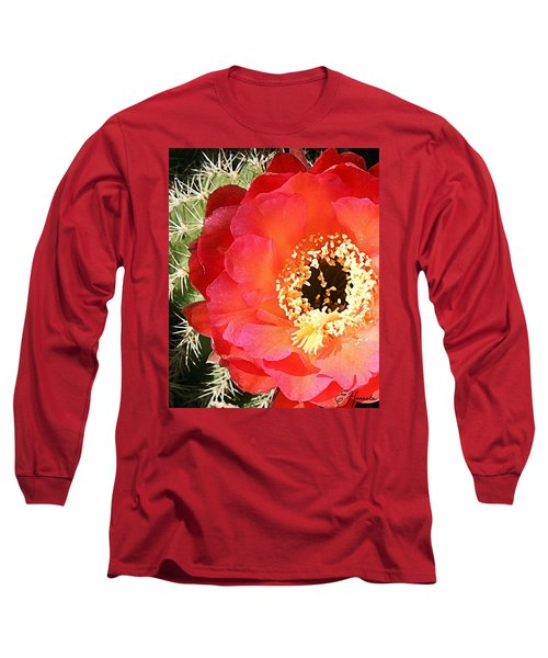 Red Prickly Pear Blossom Long Sleeve T-Shirt by Ellen Henneke