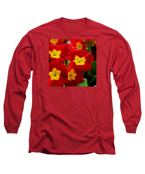 Red Primroses Long Sleeve T-Shirt