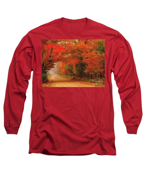 Red Red Autumn Long Sleeve T-Shirt by Terri Gostola