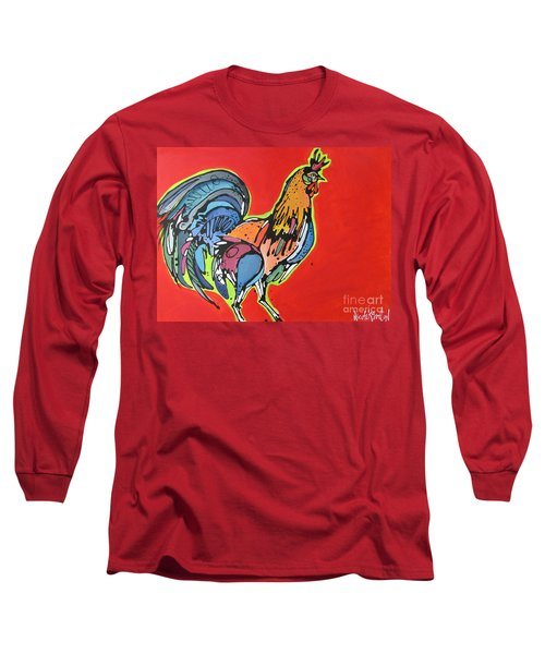 Long Sleeve T-Shirt featuring the painting Red Rooster by Nicole Gaitan