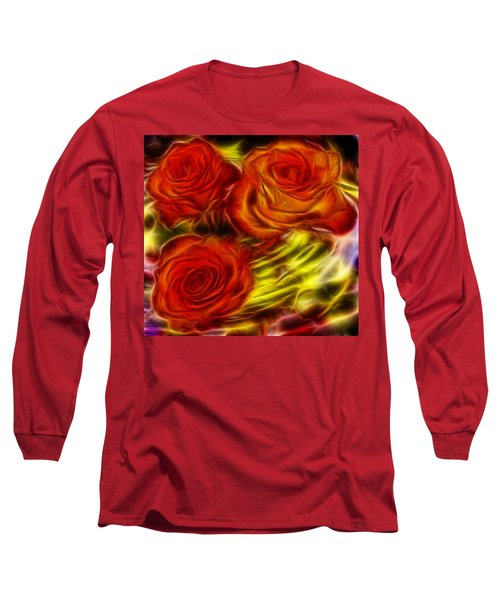 Long Sleeve T-Shirt featuring the painting Red Roses In Water - Fractal  by Lilia D