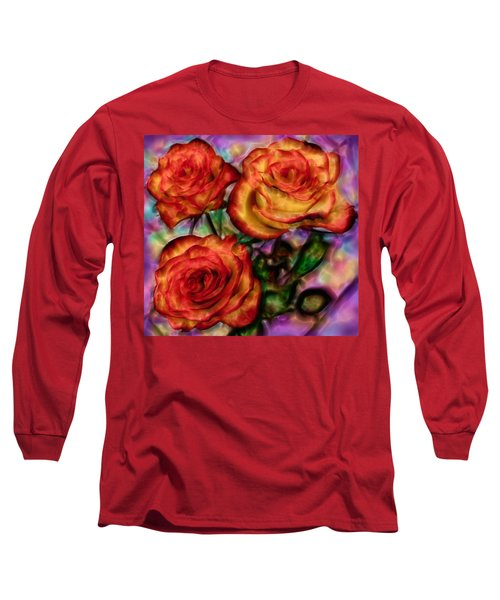 Long Sleeve T-Shirt featuring the digital art Red Roses In Water - Silk Edition by Lilia D