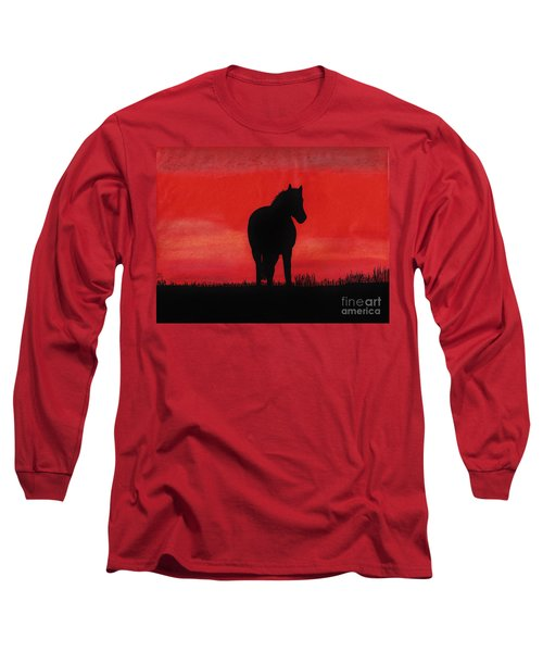 Red Sunset Horse Long Sleeve T-Shirt by D Hackett