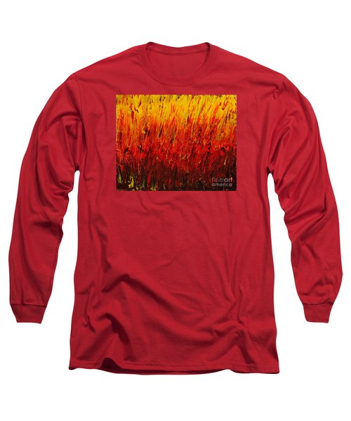 Long Sleeve T-Shirt featuring the painting RED by Teresa Wegrzyn