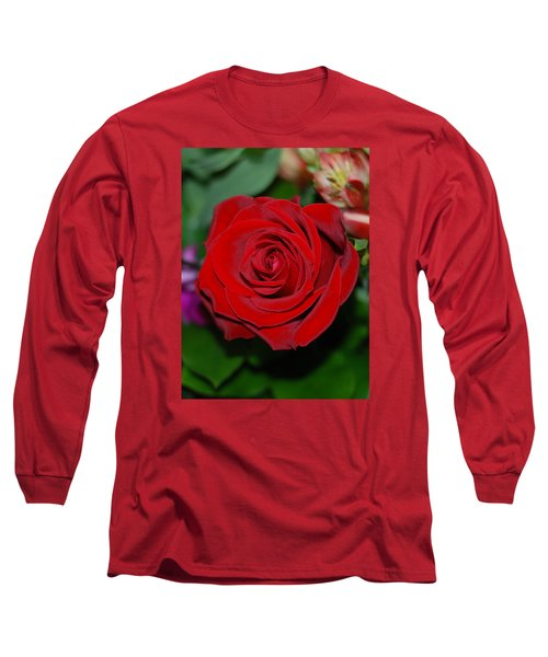 Red Velvet Rose Long Sleeve T-Shirt by Connie Fox